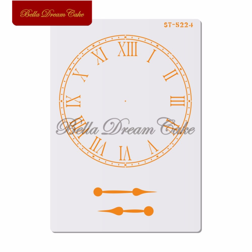 Roman numerals Clock Cake Stencil Layering Plastic Stencils For DIY Scrapbooking Painting Drawing Stencils Template Cake Tool in Cake Molds from Home Garden