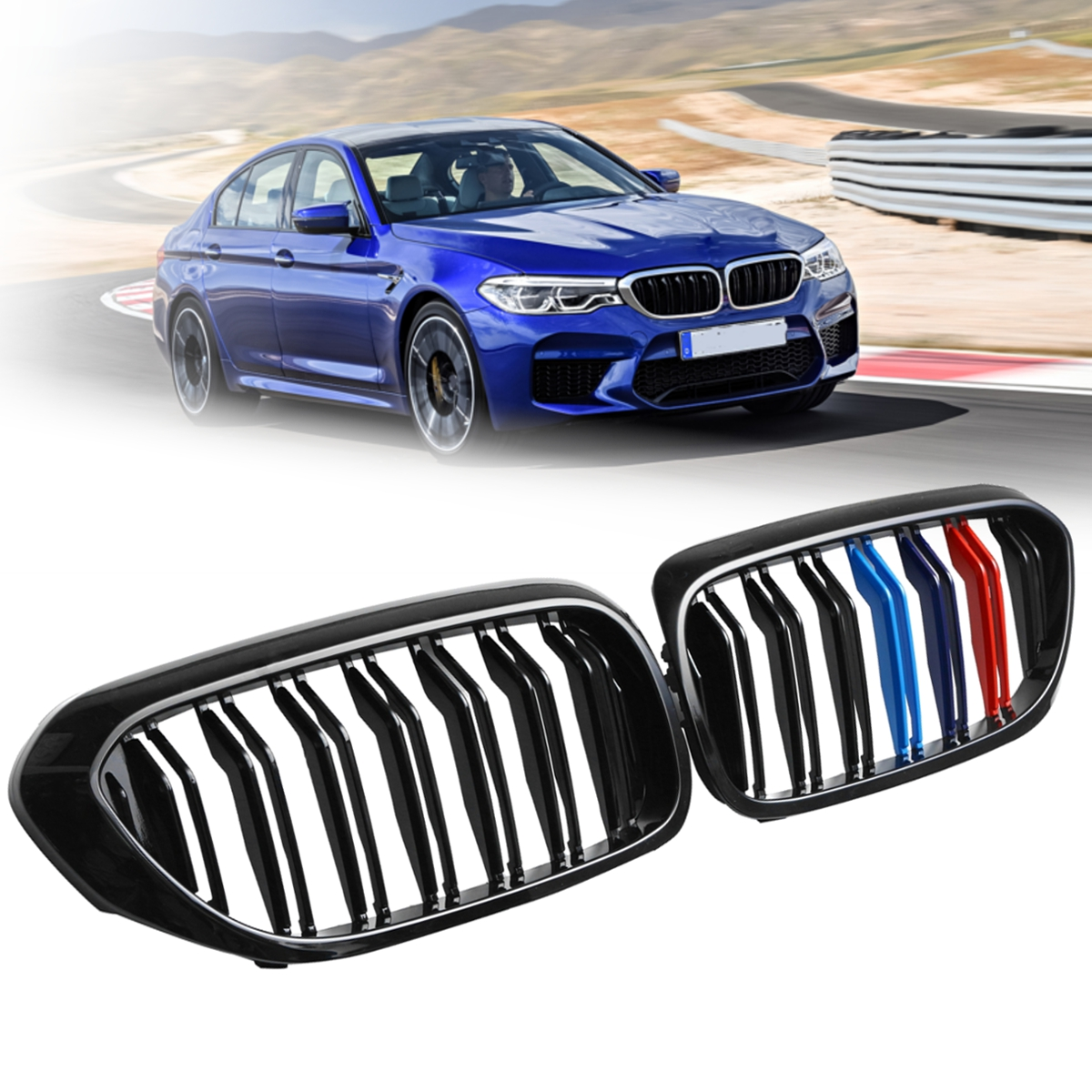 все цены на Pair Gloss Black M Color/Gloss Black Front Dual Slats Grilles For BMW 5 Series G30 G38 2017 Car styling Front Racing Grille онлайн