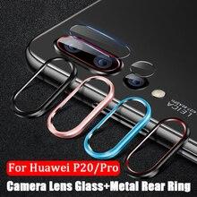 Cristal Protector de cámara para Huawei P20 Pro vidrio templado + anillo Protector de lente de cámara trasera de Metal cobertura completa para huawei P20