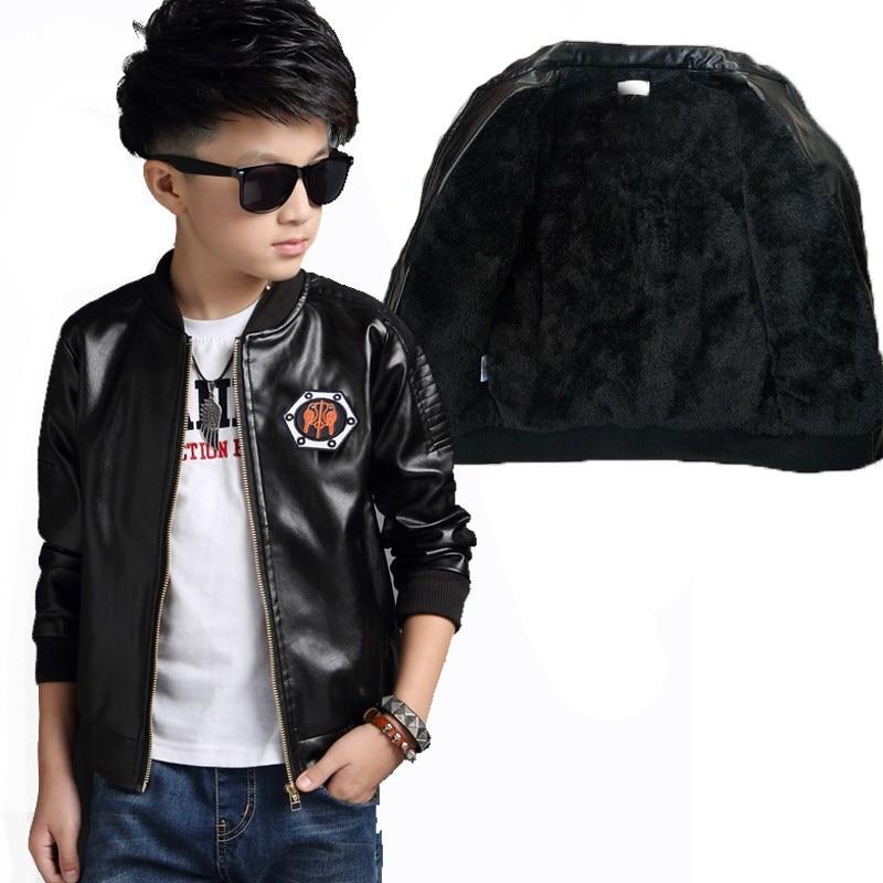 Baby Boys Leather Jacket Kids Coats Children Winter Jackets Plus Velvet Boys Casual Black Windproof Children Fleece Outerwear