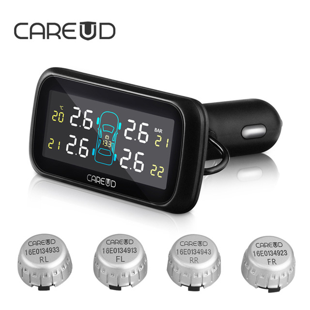 Car Wireless TPMS Tire Pressure Monitoring System with 4 External Replaceable Battery Sensors CAREUD 903 LCD Display careud tpms car tire pressure monitoring system with 4 external sensors psi bar measurement high quality tpms for your safety