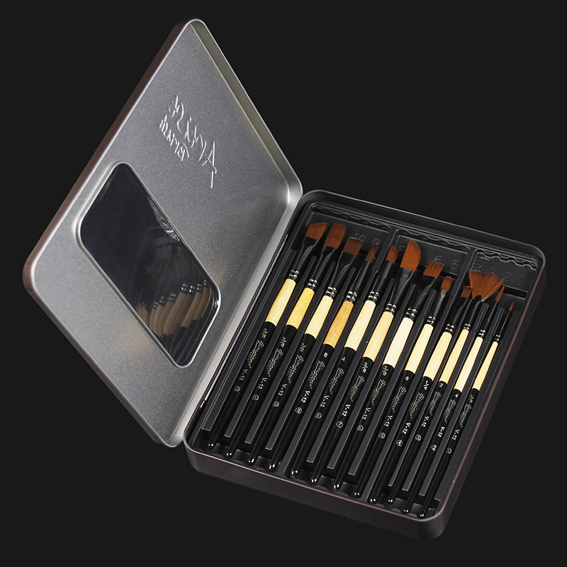 Many Types Nylon Hair Of Painting Brush Iron Box Artist Paint Brushes Set For Watercolor Oil Acrylic Gouache Painting 12 Pcs