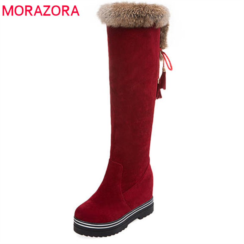 MORAZORA 2020 New Women's Winter Boots Round Toe Knee High Boots Lace Up Keep Warm Snow Boots Fashion Platform Shoes Woman