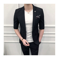 Casual Men Summer Suit Grey Striped Summer Suits Classic Black Men Striped Blazer Men Terno Masculino Blazer Masculino