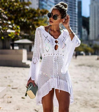2019 Sun Protection Clothing Fashion Hollow Out Knitting Long Swimsuit Coat Flare Sleeve Sexy Beach Wear Tee Tops Cover