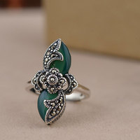 FNJ 925 Silver Flower Ring Natural Green Stone Fashion Real S925 Sterling Thai Silver Rings for Women Jewelry Adjustable Size
