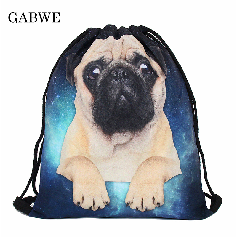 GABWE 3D Printed Drawstring Bags Pug Drawstring Bag Travel Organizer Worek Plecak Sznurek