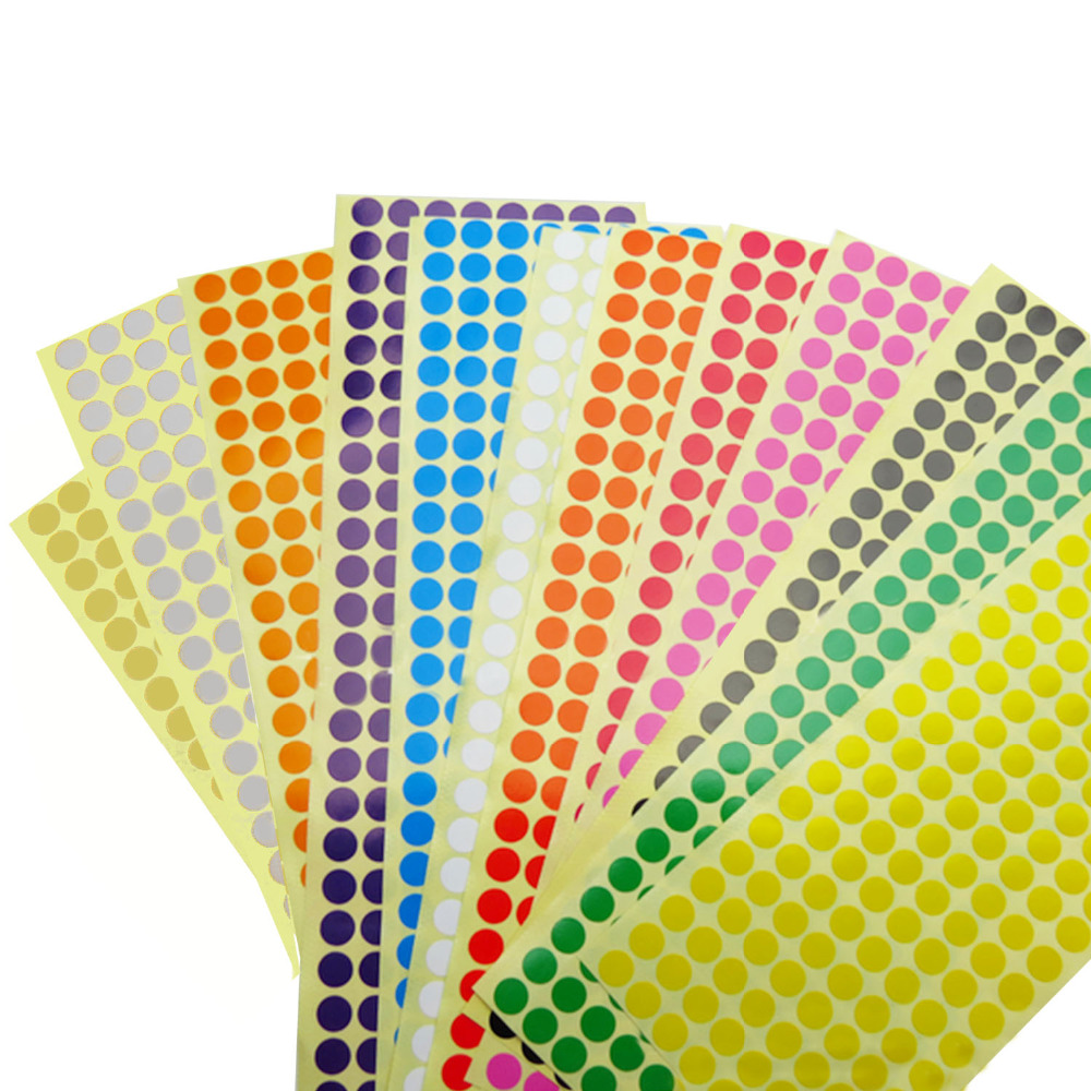12 sheets assorted color removable coding label round dot stickers for diy scrapbooking crafts making notes marks game 2304 dots