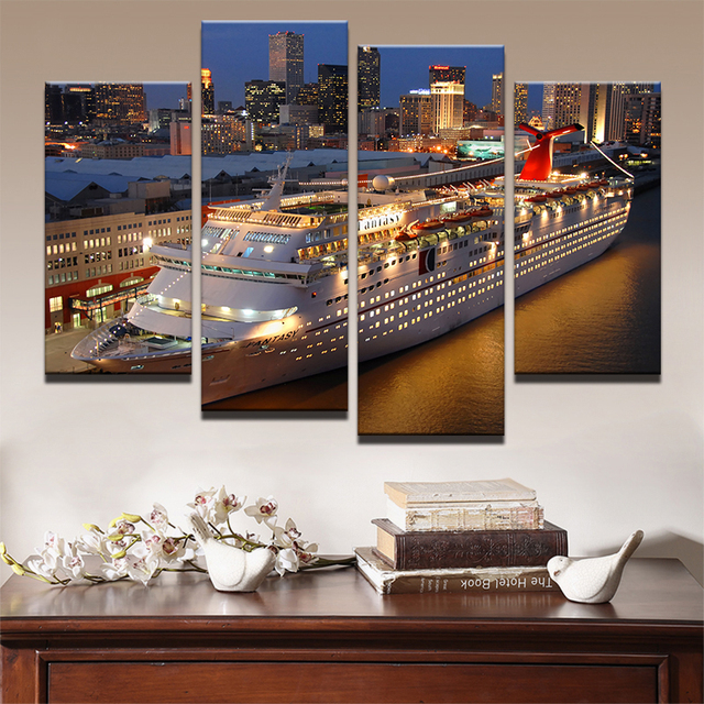 Canvas Painting Living Room Wall Poster Frames In Modular 4 Panel Carnival Cruise At Night Printed