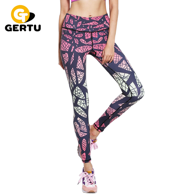 GERTU New Gradient Print Quick Dry Skinny Leggings Women 2018 Summer Fashion Casual Compression Pants Geometric Printing Legging