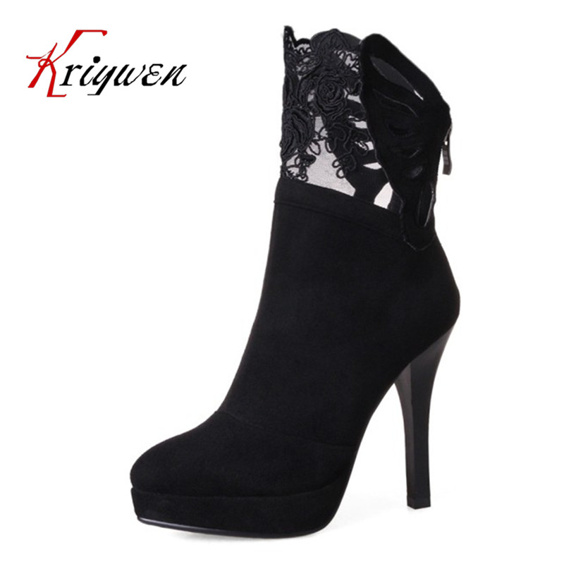 2017 plus size 33-43 Martin Boots Fashion thin High Heels shoes flock platforms lace women Ankle Boots female round toe woman plus size 33 43 2016 soft leather pumps thin high heels ankle boots for women fashion sexy club dress woman motorcycle shoes