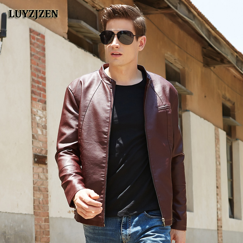 LUYZJZEN Motorcycle PU Faux Leather Jacket Men Winter New Arrival Male Jackets 2017 Casual Solid Zip Leather Coats Free Ship 633