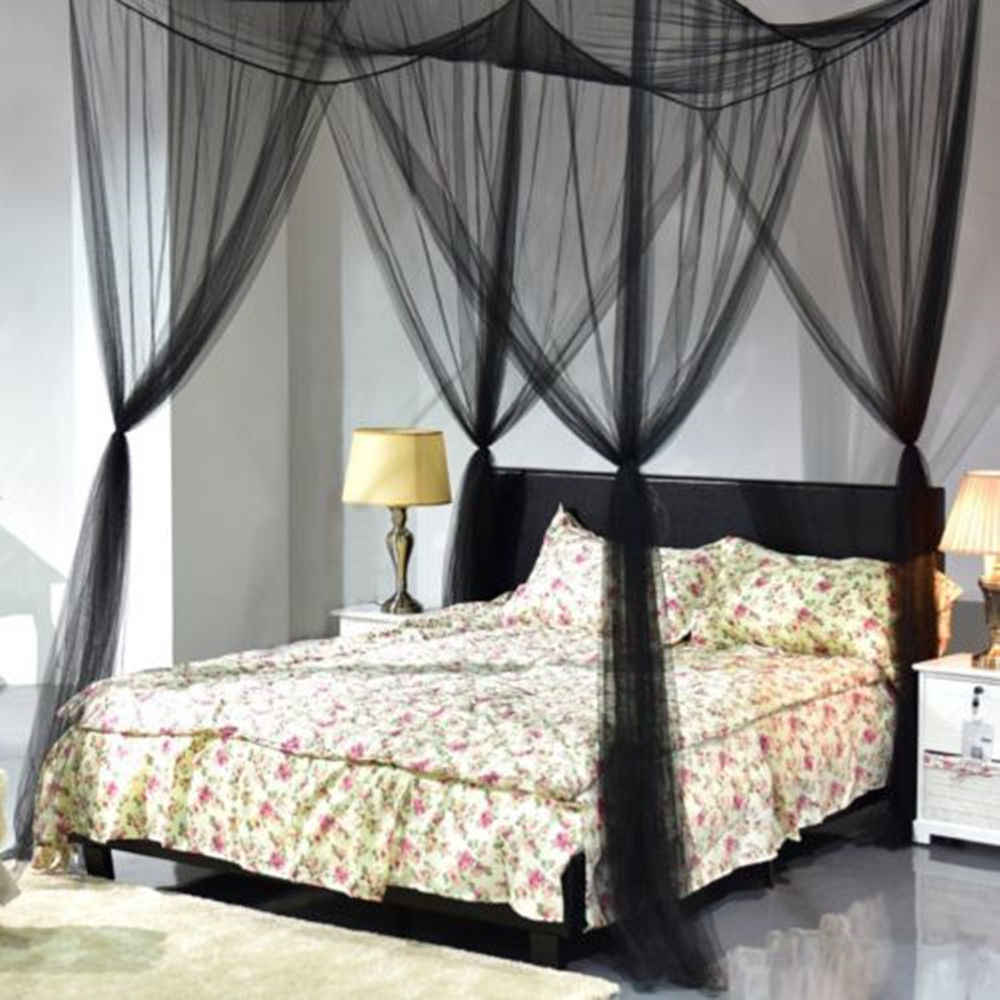 - Black Four Doors Princess Mosquito Net Double Bed Curtains