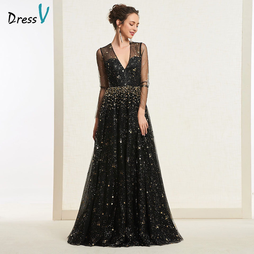 Dressv Black Evening Dress V Neck A Line Elegant Long Sleeves Sequins Floor Length Wedding Party Formal Dress Evening Dresses