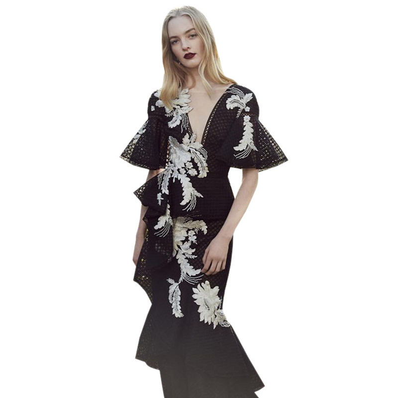 2019 women s summer clothing mesh flower embroidery dress bohemian vintage dresses v neck peplum flared