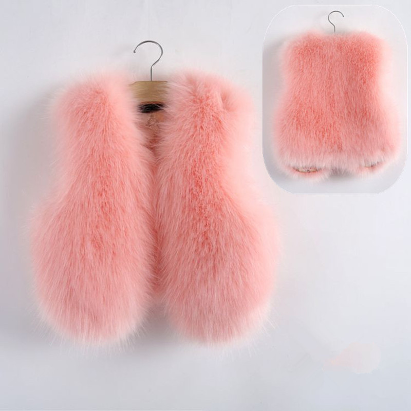 2018 Baby Autumn Winter Vest Waistcoat Children's Fur Vest Boys Girls Imitation Fur Coat Kids Faux Fur Fabric Clothes Fur Vest etosell women faux fox fur shaggy waistcoat long hair lapel vest coat camel l