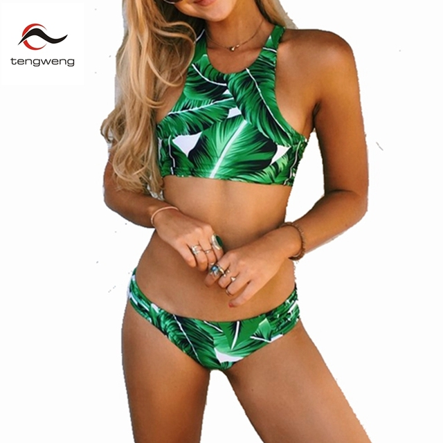 3959457ad68 Tengweng 2019 New Sexy Green Leaf Print Bikini High neck Women Swimwear  Large size Swimsuit Cut Out Thong Female Bathing suit