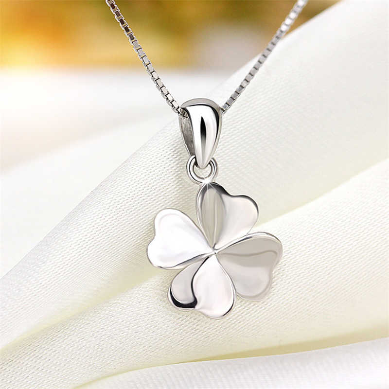 New Fashion  simple Silver Four Leaf Necklace For Women Gift 925 Jewelry