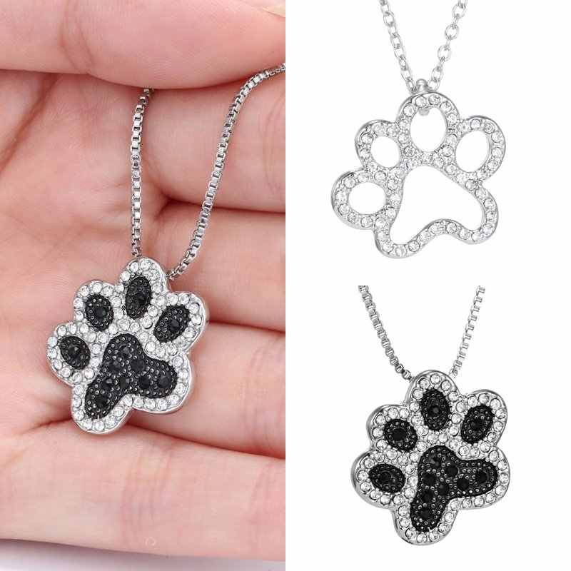 Rinhoo Fashion Crystal Animal Cat Dog Footprint Pendant Necklaces Jewelry For Woman Crystal Pendant Necklace Bijoux Jewelry