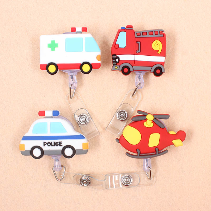 Cute Ambulance Fire Truck Retractable Badge Reel Student Nurse Doctors Exhibition ID Name Card Badge Holder Office Supplies
