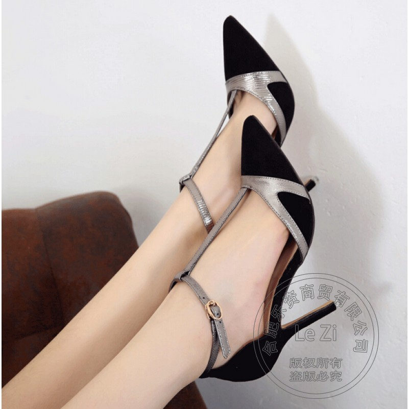 font b Woman b font Shoes Nubuck Leather Stiletto Heels Hasp Luxury Brand font b