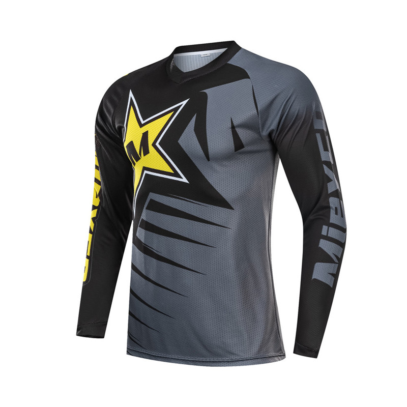 Men Long Sleeve Downhill Jersey Mountain Bike Clothing Quick Dry Running Clothes Cycling Jacket Off Road T Shirt Sports Wear