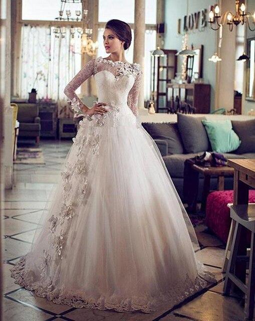 Vestidos De Novia Vintage Ball Gown Wedding Dresses Sheer Bateau ...