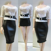 Custom 1 6 Female Action Figure Clothes Shirt Leather Skirt With Belt For PH HT Figures