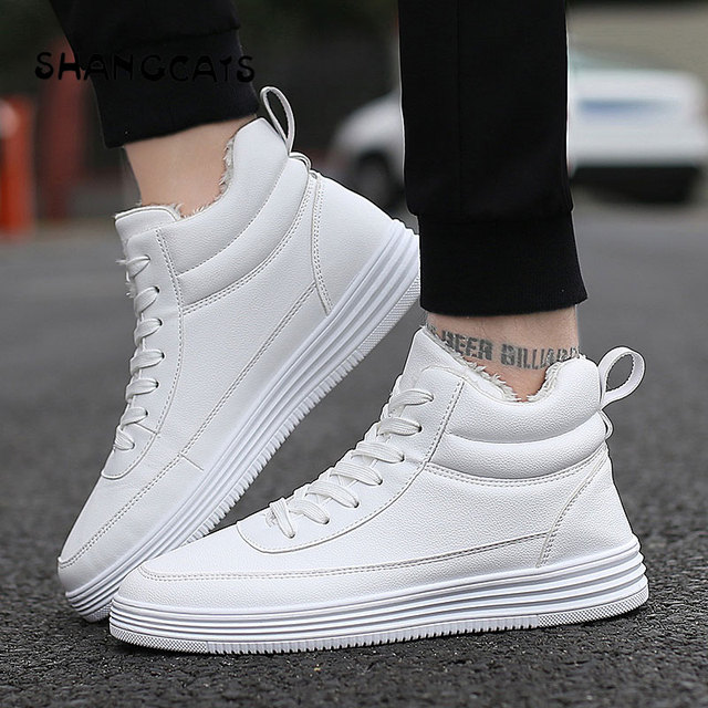 c02d3d3b34 men winter shoes thicken keep warm Men s Vulcanized Shoes plush inside high  top shoes white all black casual sneakers for men