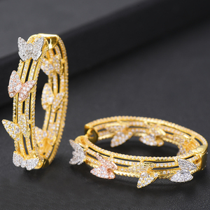 Image 4 - GODKI Luxury Butterfly Cubic Zircon Statement Big Hoop Earrings For Women Wedding DUBAI Bridal Round Circle Hoop Earrings 2019