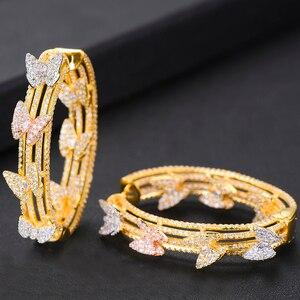 Image 4 - Женские серьги кольца GODKI, свадебные круглые серьги с бабочкой и кубическим цирконием, 2019