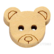100 Pcs 13mm Cute Teddy Bear Face Buttons , for Sewing, Scrapbooking Crafts ,2 Holes 7NK67