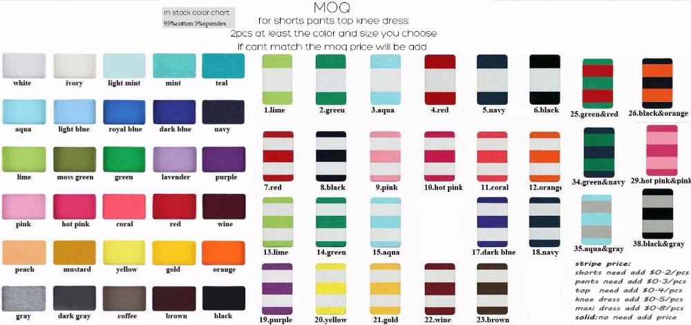 color chart and moq