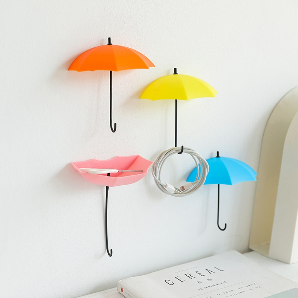 Creative Cute Umbrella-shape Hanging Hooks Wall Mounted No Trace Mini Door Hook Key Organizer Hooks