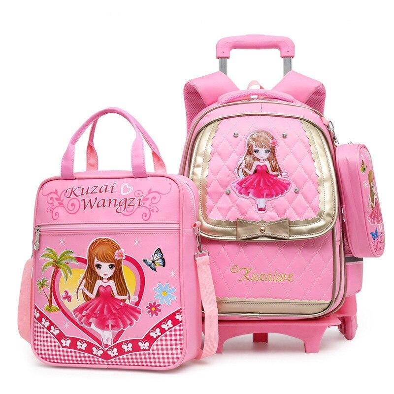 4dd86226ce15 Trolley Children School Bags Set Mochilas Kids Backpacks With Wheel Trolley  Luggage For Girls backpack Backbag
