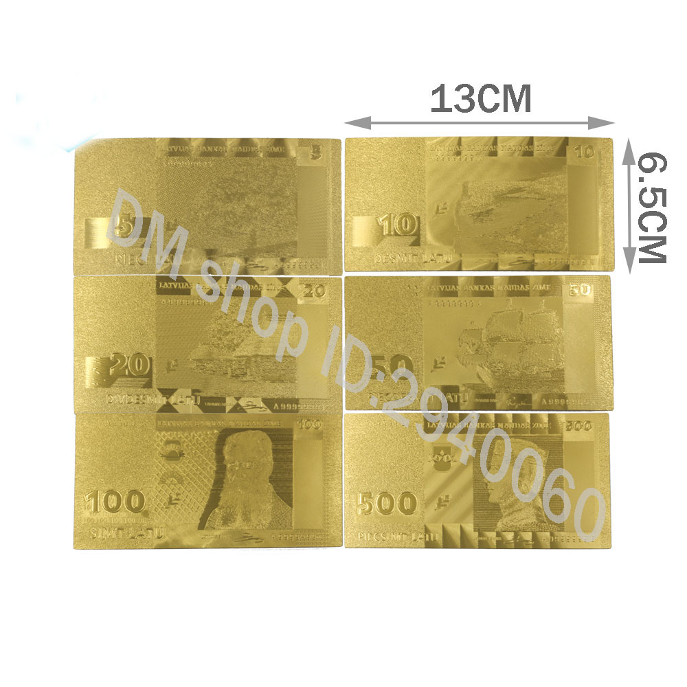 Latvia 24k 999.9 Gold Banknote Home Decoration Crafts Paper Money Lat Set for Student Co ...