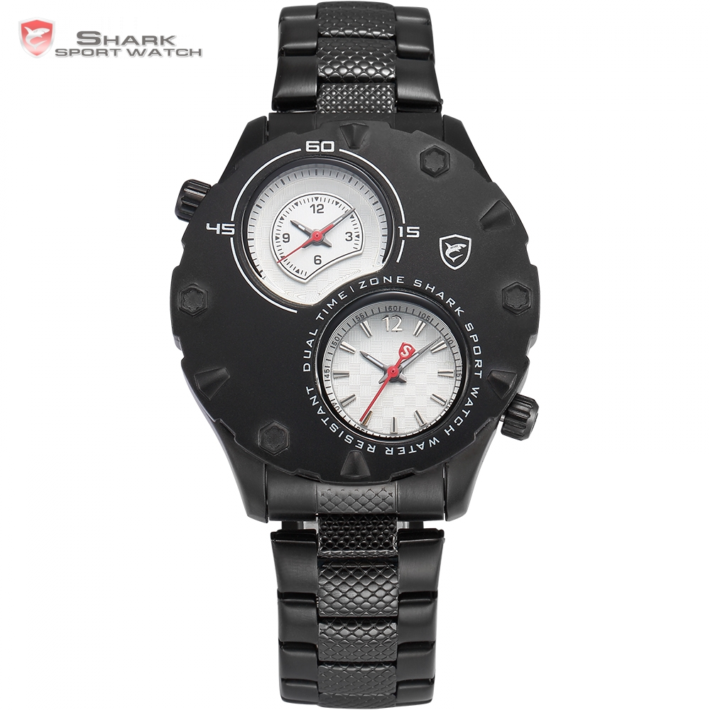 Zebra Shark Sport Watch Two Time Zone Relogio Masculino White Red Analog Black Stainless Steel Mens Quartz Wrist Watches / SH297 novatrack zebra 12 2015 red white