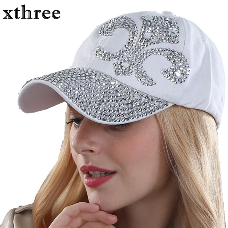 Xthree  fashion hat caps sunshading men and women's  baseball cap rhinestone hat  denim and cotton snapback cap cowboy hat cap cap flat top hat lace rhinestone flower hooded fashion tide cap cap riding hood