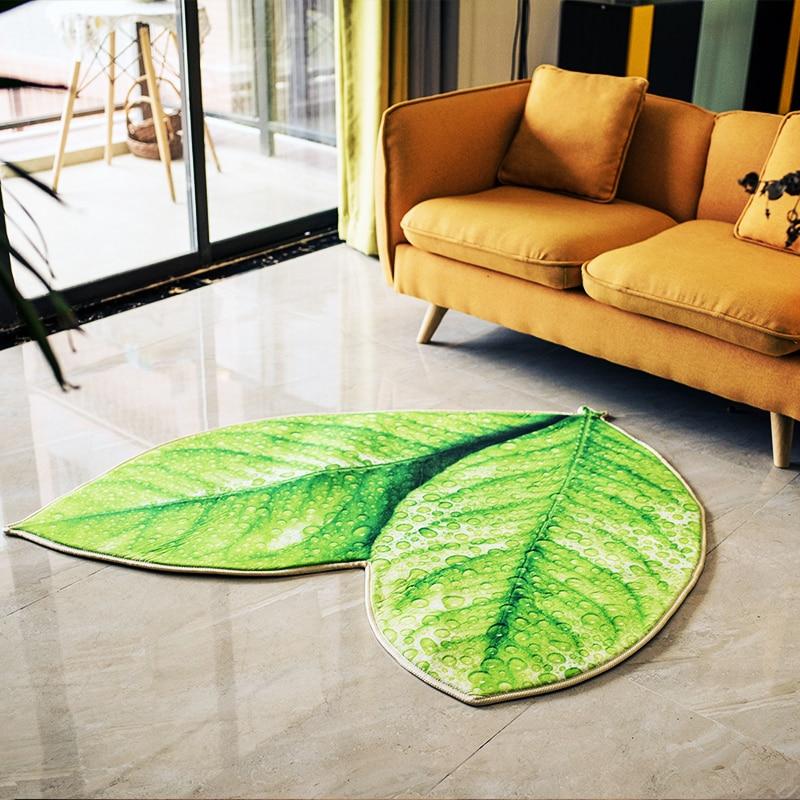 Creative vert feuilles tapis de sol salle de bain bébé ramper antidérapant salon chevet tapis extérieur - 4