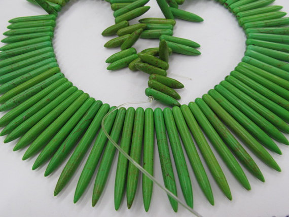 batch 18inch 30strands turquoise beads sharp spikes bar lemon green mixed jewelry necklace 20 50mm by express ship