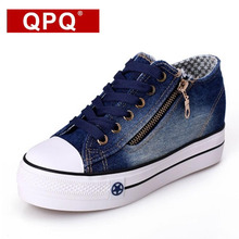 QPQ Free Shipping 2017 New Canvas Shoes Fashion Leisure Women Shoes Female Casual Shoes Jeans Blue