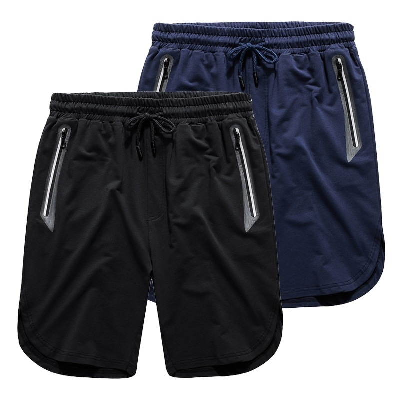 Shorts Fitness Zipper-Pockets Gym Men's Summer Casual Boy Man Solid with Exercise Shiny