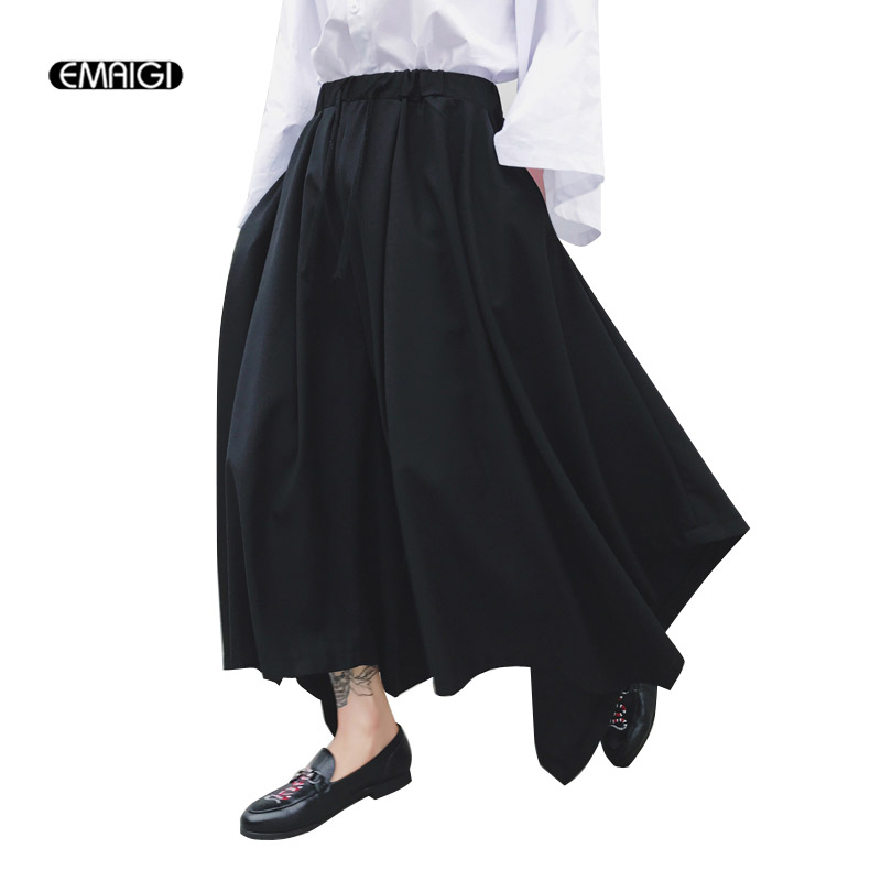 Men Big Pockets Casual Cargo Pants Male Fashion Hip Hop Punk Harem Pants Jogger Sweatpants Black