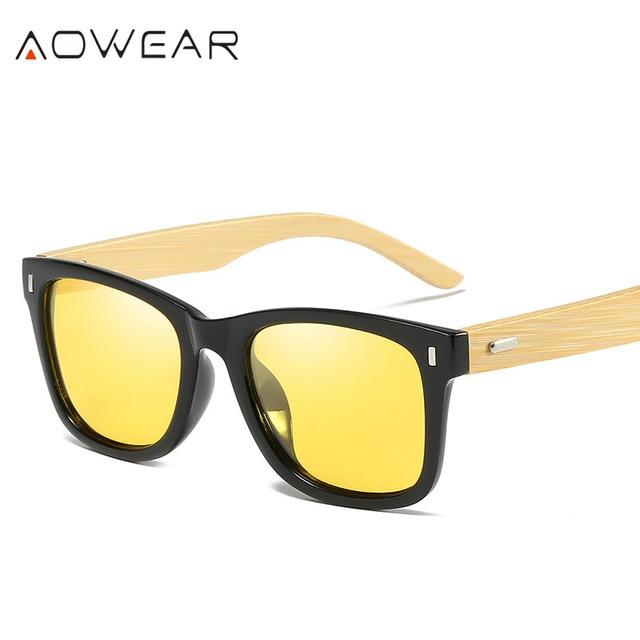 b89aba8eaa 2017 AOWEAR Brand Designer Bamboo Wooden Frame Sunglasses Unisex Wood Foot  Male Goggles UV400 Sun Glasses For Women gafas de sol
