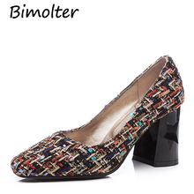 Bimolter Female Four Seasons Costume Tweed Plaid Pumps Square Toe Thick heel Women Handmade Quality Casual Shoes PCEA003
