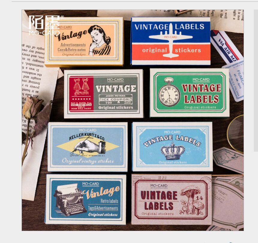 60pcs/pack Vintage Labels Retro Ticket Air Mail Stamps Message Notes Decorative Planner DIY Journal Scrapbooking Index Stickers