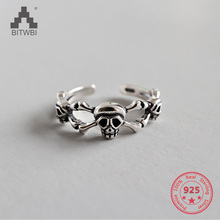 925 Sterling Silver Gothic Skull Skeleton Ring Biker Punk For Men Women Jewelry 18 to 36 925 sterling silver skulls mens biker rocker punk necklace 8w004n