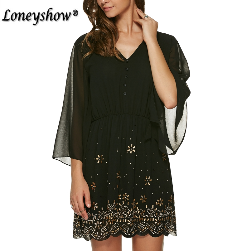 12ab2b35ece87 Loneyshow Summer Dress Plus Size Women Sequined Embroidery Party Dresses  2018 Large Size Work Elegant A