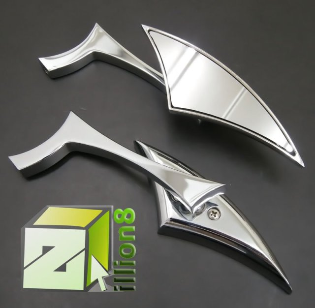 Chrome Blade Motorcycle Mirror Scooter Custom Cruiser Dirt Bike ATV