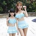 Новый 2016 родитель-ребенок моды кружева бикини купальник деления юбка сладкий мать и дочь купальник